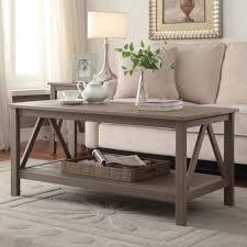 linon titian wood coffee table rustic gray