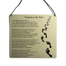 details about footprints in the sand faith positive poem wall art sign wall hanging gift