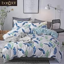 bonenjoy blue flower bedding set queen size duvet cover flat sheet pillowcase sets single bed linen for s king size bedding full duvet duvet sheets