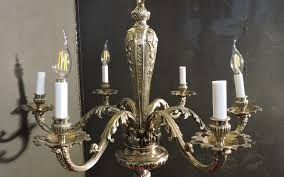 french six light chandelier nickeled bronze 1920 s france