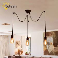Cheap Pendant Light Fixtures Us 8 77 37 Off Tsleen Cheap Diy Pendant Lights Retro Hanging Led Lamps Edison Fixtures Spider Ceiling Lampe Light For Living Room 1 12 Heads In Led