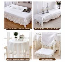 1 piece european white embroidered round table cloth pure color hollow out lace tea table cloth