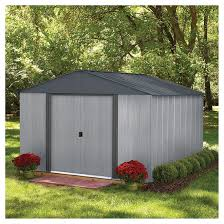 storage shed 10 x 10 driftwood steel grey