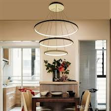 3 ring acrylic led chandelier brightness dimmable modern round pendant lamp 90 260v 40 60 100cm simple personality ceiling pendant lamps pendant light shade