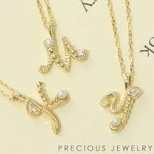 jewelry accessories las jerry accessories necklace and pendant yellow gold pearl diamond initials alphabet wrapping free k10 10 gold popular gift