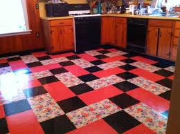 vintage kitchen installed flooring vinyl printed vinyl tile eclectic kitchen