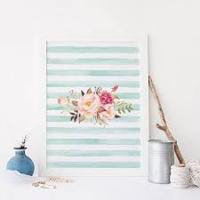floral wall art mint stripes bohemian theme arrows feathers art colorful wall art nursery decor on floral wall art nursery with floral wall art mint stripes bohemian theme arrows feathers art
