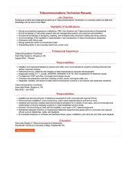 Telecommunication Resume Telecommunications Technician Resume Great Sample Resume