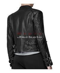 back buckle strap biker jacket for women