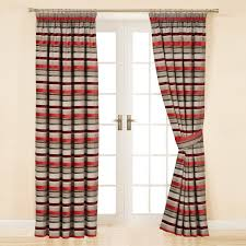 appealing striped curtains with long curtain and nightlamps also single sofa combined with fluufy rug and