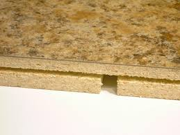 photo of slot routed in in edge of countertop miter section