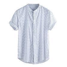 Mens Vintage Baggy Button Shirt Splicing Retro Solid Linen