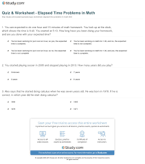 quiz worksheet elapsed time problems in math com print solving elapsed time problems worksheet