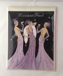 Birthday Card Deco Friend 3 Elegant Ladies Dressed In Lilac