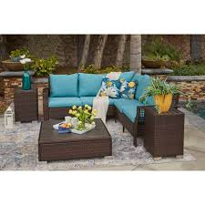 Shop handy living aldrich indoor outdoor brown resin rattan sectional seating group with teal blue cushions free shipping today overstock 23062382