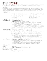 Financial Services Resume Financial Advisor Resume Job Description Example Download Sample