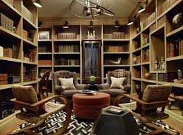 home library design with classic theme mood artistic chandelier pale wooden bookshelf home library design