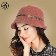 2019 FS Fall Winter Women\u0027S Fedora Wool Blend Solid Colors Caps Elegant Lady Felt Wide Brim Fedoras Bucket Hats Grey Navy Brick Red From Naughtie,