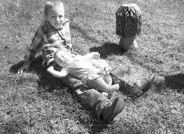 Xavier and Alana at a pond on Grandma Clarks' old farm property ...
