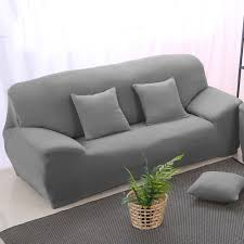 grey elastic stretch sofa cover slipcover solid color slip resistant chair couch sofa cover single two three four seat 1piece in sofa cover from home