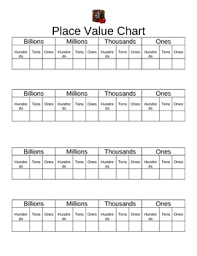 Place Value Chart 4th Grade Place Value Chart Worksheets Teaching Resources Tpt