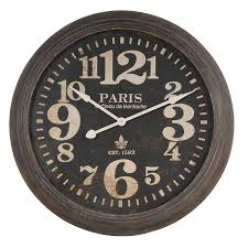 large rustic metal paris round wall clock mulberry moon inside remodel 0