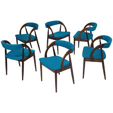 mid century danish walnut dining chairs in turquoise for