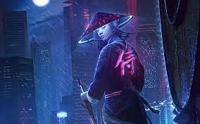 1280x800 Neon Samurai Girl 4k 720P HD ...