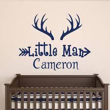 nursery decor wall vinyl decal deer sticker deer horns wall decal boy custom personalized boys name decor little m