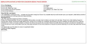 Light Truck Driver Application Letter Sample