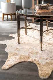 nuloom iraida faux cowhide off white area rug 5 9