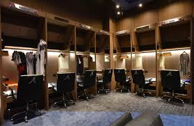 2017 atlanta interior of braves locker room inside braves clubhouse during a media tour before the first baseball game braves yankees exhibition
