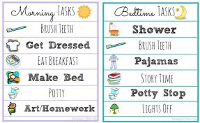 Bedtime Routine Chart Printable Free Morning And Bedtime Routine Printable Lists Perfect