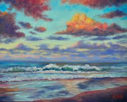 sunset coolum beach sunshine coast qld painting 25x30x0 3 cm 2016