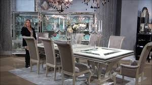 Hollywood Swank Rectangular Glam Dining Room Set By Michael Amini - Aico dining room set