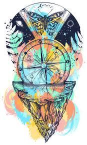 Fototapeta Vesmír A Motýl Akvarel Stříká Barevné Tetování Umění Symbol