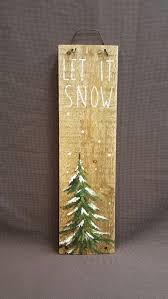 pallet painting ideas christmas. christmas winter reclaimed wood pallet art, let it snow, hand painted pine tree, painting ideas t