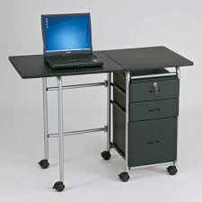 rack small desks with drawers furniture black particle board computer table three locking drawer and chrome metal frame legs plus wheels desk room corner