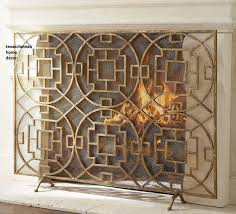modern french chinese chippendale fireplace screen mesh fire firescreen horchow