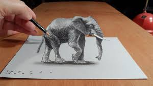 very easy 3d paintings on paper drawing 3d elephant how to draw 3d elephant on