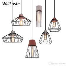 willr cement pendant lamp concrete suspension light iron cage frame hotel restaurant hanging lighting dinning room bedside glass pendant lights copper