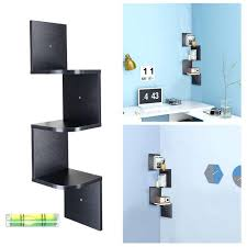 3 tier floating corner shelf wall mount bookcase storage organizer black zig zag finish white