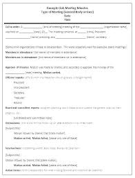 Meeting Minutes Format Sample Pta Meeting Minutes Template