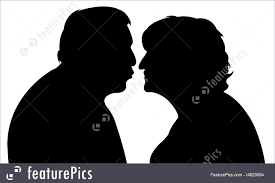 Senior People An Old Couple Kissing Each Other Stock