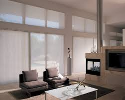 sophisticated vertical blind sliding glass door covering for contemporary living room design idea