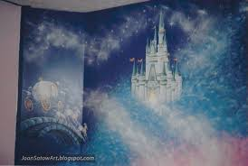 wall mural for a girl s bedroom inspired by disney s cinderella depicting cinderella s castle her pumpkin coach and lots of fairy dust  on castle wall art mural with joan satow wall murals