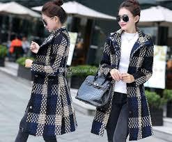 korean plus size winter coats women las plaid wool coat oversize woolen overcoat loose wool blend trench coat with belt size xl 4xl plus size plaid wool