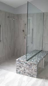 Double Benched Walk-In Shower. shower without door