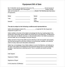 Sample Equipment Bill Of Sale Template 8 Free Documents
