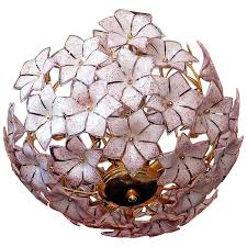 extra large vintage gold italian pink murano flower venini art glass chandelier for